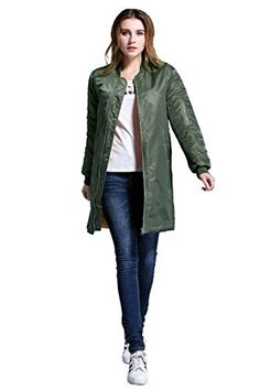 Neowows Ladies  long bomber Jacket * Want additional info? Click on the image.
