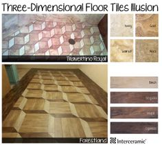 Forestland & Travertino Royal Floor Illusion: Originally implemented at the Basilica of St. John Lateran in Rome, the pattern not only creates an illusion of three-dimensional boxes, but each person sees it differently. Patterned Carpet, Tile Patterns, Three Dimensional, Illusions, Tile Floor, Tiles, Flooring, 3d, The Originals