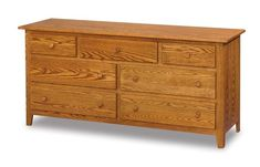"Amish Shaker 66"" Seven Drawer Dresser Simple shaker style dresser with lots of room to store clothing, accessories, blankets and more! Amish made in choice of wood, finish and hardware. #wooddressers #Amishbedroomfurniture #bedroomdresser"