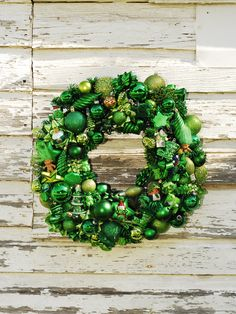 Green Christmas Ornaments Wreath by FineTouch on Etsy, $60.00