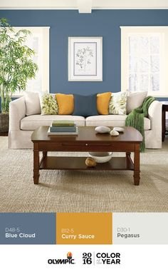 Pair the OLYMPIC® Paints 2016 Color of the Year, Blue Cloud with golden yellow Curry Sauce and neutral white color Pegasus. Mixing the dazzling bright of golden yellow with softer, neutral tones like white or beige, is a great way to ground this bold blue paint color.