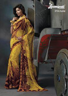 This Yellow , Orange & Brown color Georgette material designer printed saree