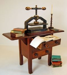 Book Copy Nipping Type Letter Press Antique Bookbinder /  Cast Iron & Bronze Press with Bespoke Mahogany Stand in excellent original condition, believed to originate from London, England / c. 1850