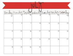 free july 2013 printable calendar - a new calendar every month! | www.livecrafteat.com
