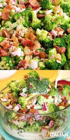 The Best Ever Broccoli Salad is a simple recipe combining broccoli, bacon, raisins, onion and nuts. They come together in the most amazing summer salad yet. The sweet and creamy dressing really makes Best Salad Recipes, Lunch Recipes, Keto Recipes, Vegetarian Recipes, Cooking Recipes, Healthy Recipes, Dinner Recipes, Breakfast Recipes, Salads For Dinner