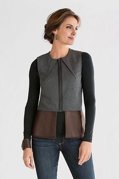 Dart Vest With Leather Peplum: Killion: Vest   Artful Home- If I were slender, I think I would spring for this gorgeous simple vest!