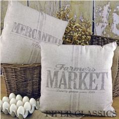 Farmers Market Feed Sack Pillow - this website has a ton a country decor ideas @Kelsey Bernath :)