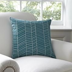 Birch Lane Cassie Embroidered Pillow Cover, Teal  $39.00