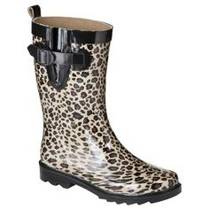 Women's Krista Short Rainboot - Black/Brown Leopard Print click image to zoom