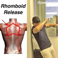 Rhomboid Release👌🏻👌🏻[knots between the shoulder blades] - 👉Do you have that knot right on the inside part of the shoulder blades? Shoulder Training, Shoulder Workout, Yoga Fitness, Fitness Tips, Health Fitness, Muscle Knots, Tight Shoulders, Spine Health, Stretching Exercises