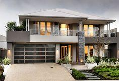 display home, contemporary garage door, stone cladding, surf mist roof, front door Modern House Facades, Modern House Plans, Modern Architecture, Chinese Architecture, House Front Design, Modern House Design, Suites, Facade House, House Layouts