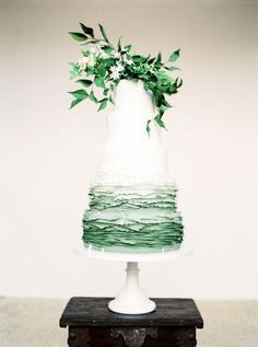 Ombre green and white wedding cake