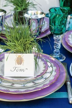 "The Place Cards - Spring Garden Party Table Setting - Southernliving. Some old-school traditions should never go away. ""Place cards give guests the comfort of knowing where to sit,"" Jane Scott says. These hand-painted scarab cards, paired with small jars of wheatgrass, reinforce the garden theme.     Love it? Get it!Place cards: Hand Painted Scarab"