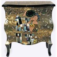 """Photo de Commode baroque laquée motif """"Le baiser"""" de Klimt (82x40xH.92cm)"""