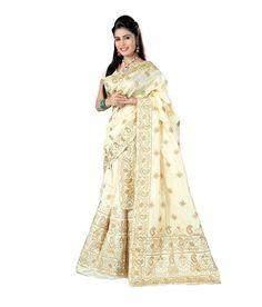S Kiran'S Designer Mekhla (Mekhela) Chador (Chaddar) - Art Silk Antique Jari Work