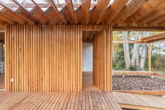 The zig-zagging roof of this wooden holiday home in Buenos Aires by local practice Estudio Borrachia provides shade and will eventually be covered in grass Roof Covering, Wood Architecture, Roof Design, Wooden House, Pavilion, Pergola, Exterior, Outdoor Structures, Rustic