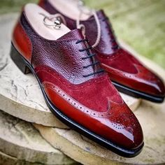 Unique Design Suede and Leather Splicing Men Brogue Shoes Leather Shoe Laces, Handmade Leather Shoes, Suede Shoes, Leather Men, Men's Shoes, Dress Shoes, Shoes Men, Soft Leather, Ascot Shoes