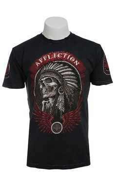 Affliction Men's Thunderfoot Black Lava Wash Indian Short Sleeve Tee