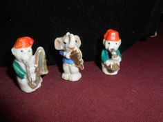VINTAGE PORCELAIN SET OF 3 ANIMAL BAND- ELEPHANT & 2 MONKEYS MADE IN JAPAN