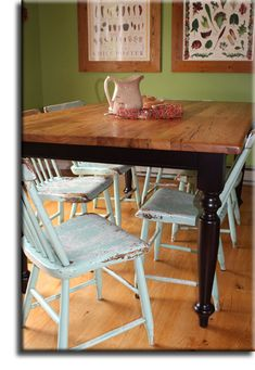antique chestnut farm table with black legs - gorgeous!  Just what we need for our kitchen but can't afford it, so we're going to make our own!   This one is from Appalachian Woods in VA