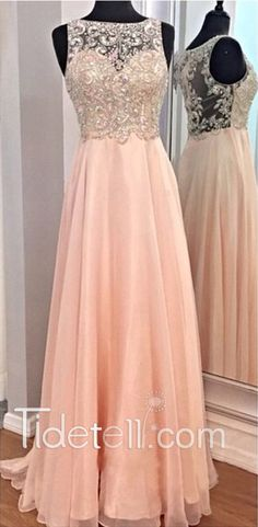 2016 long prom dress, beaded peach chiffon prom dresses, see through prom dress, sheer ball gown