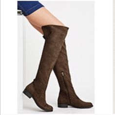 🆕✨Over the Knee Faux Suede Boots Color: Olive. Size: 7.5. Retail Price $44.90 Shoes Over the Knee Boots