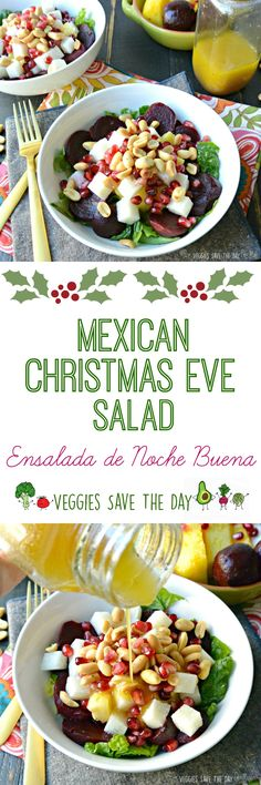 Mexican Christmas Eve Salad Ensalada De Noche Buena Combines Beets And Colorful Fruits In An Orange Vinaigrette. It's Perfect For The Holidays Or Anytime Beets Are Available. Best Vegan Recipes, Dairy Free Recipes, Vegetarian Recipes, Gluten Free, Vegetarian Salad, Vegetarian Mexican, Frugal Recipes, Family Recipes, Mexican Christmas