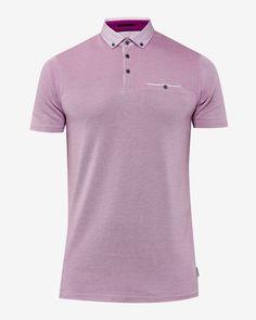 Geo print collar polo shirt - Purple   Tall   Ted Baker