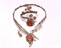 Copper jewelry set-turquoise jewelry set by BeyhanAkman on Etsy