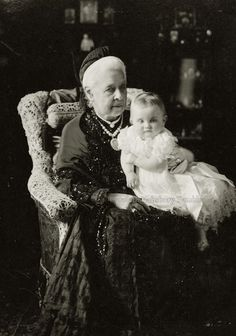 Queen Marie of Hanover , neé Princess of Saxe Altenburg, with great granddaughter, Princess Alexandra of Baden. Early 1903