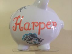 Personalized Large piggy Bank - beach theme , Sea shells Newborn, Baby Shower, Ring Bearer, Flower Girl, Christening Gift by KUTEKUSTOMKREATIONS on Etsy