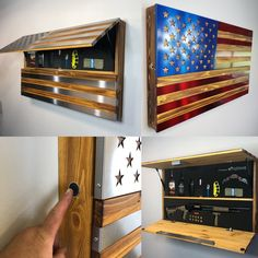 Arredamento (patent pending) THE FREEDOM CABINETWith burned, hand oiled wood and inlaid polished ste Gun Safe Diy, Hidden Gun Safe, Hidden Gun Storage, Weapon Storage, Hidden Gun Cabinets, Wall Shoe Rack, American Flag Wood, Wood Flag, Solid Doors