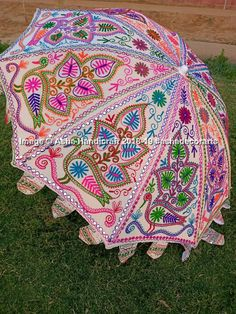 Details about Traditional Indian Theme Wedding Decorative Large Umbrella Lawn Garden Parasols