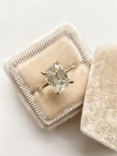 Emerald Cut Moissanite Engagement Ring 2.3ct - 18k Yellow Gold