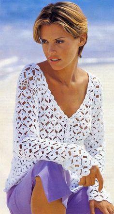 Cardigan / Vest Summer / Beach Woman Snow White Knitted Crochet Hand-Made Crochet Woman, Love Crochet, Beautiful Crochet, Knit Crochet, Crochet Tops, Crochet Jacket, Crochet Cardigan, Latest African Fashion Dresses, Shirts & Tops