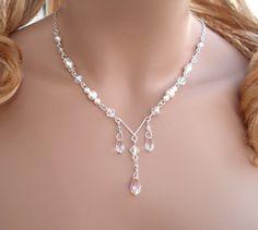 Bridal Jewelry/Bridesmaid Crystal Pearl Jewelry -Necklace and Earring Set -Wedding Jewelry- Swarovski Teardrop Necklacerdrop Crystal