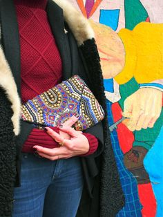 ethnic pattern clutch