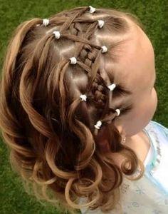 Çocuk Saç Modelleri Örgü Önden Saç Bantı Kafes Örgü