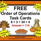 Thanksgiving Math:  Thanksgiving Math Task Cards - Here are 6 printable (PDF) order of operations Thanksgiving math task cards for 5th and 6th grade students.   A student response form and answer key are also provided. There are four Thanksgiving math cards on each page.