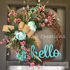 NEW MadetoOrder Cherry Blossoms Grapevine Wreath/Monogram Wreath/Front Door Wreath/Spring Door Hanger/Peonies Wreath/Seasonal Wreath/Burlap – Wreath For Front Door İdeas. Wreath Crafts, Diy Wreath, Grapevine Wreath, Burlap Wreath, Wreath Ideas, Boxwood Wreath, Burlap Bows, Easter Wreaths, Holiday Wreaths