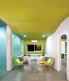 Bright office colours and communal collaborative spaces are trending for today's office designs - what do you think? Corporate Office Design, Dental Office Design, Corporate Interiors, Workplace Design, Office Interior Design, Office Interiors, Office Designs, Interior Decorating, Bright Office