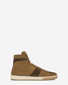 SAINT LAURENT SIGNATURE COURT CLASSIC SL/10H IN TAN AND BROWN SUEDE