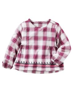 Toddler Girl Embroidered Plaid Top from OshKosh B'gosh. Shop clothing & accessories from a trusted name in kids, toddlers, and baby clothes.