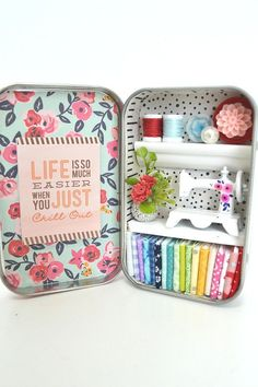 I created this tiny tin sewing room inside of the famous mint tin which is only 2 3/8 x 3 3/4 big. Dont be fooled by its size: once you open the door (well, lid), you feel like you are entering a real sewing room! Desk space has a sewing machine (some of them have hand painted