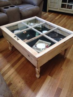 Old window turned into coffee table (finished).