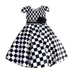 114c54e66909 Big Size Girls Dresses Black White Plaid Kids Dress with tutu Flower Bow  Fashion Summer Cotton Children Clothes * Pub Date: Feb 17 2017