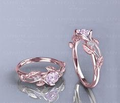Unique Engagement ring & Wedding ring set Wedding Band Solid rose gold / white gold / yellow gold Band width: round cut SI-H natural conflict free diamond Split shank band style Prong pave set Wedding Band Sol Floral Engagement Ring, Morganite Engagement, Nature Engagement Rings, Celtic Engagement Rings, Halo Engagement, Cute Rings, Pretty Rings, Ring Set, Ring Verlobung