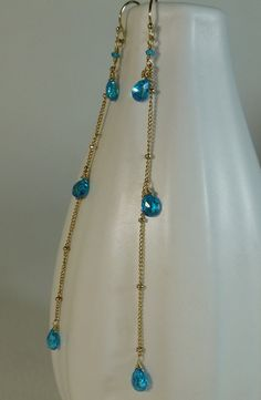 Neon blue Zircon long linear drop gold earrings,minimlist something blue,boho,dangle earrings,blue and gold,sara nolte design by SaraNolteDesign on Etsy