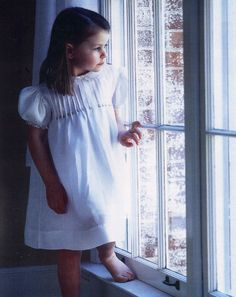 """Featured in July/Aug 2001 Creative Needle Magazine, """"The Tuck Dress"""" by Collars, Etc. Pattern Co. in cambric linen with thread running technique. Designed & made by Trudy Horne. Little Girl Dresses, Girls Dresses, Tuck Dress, Heirloom Sewing, Dress Ideas, Baby Girls, Smocking, Hand Embroidery, Collars"""