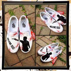Walking Dead Zombie Shoes--Vans Slip-on Shoes or Vans Authentic Walking Dead inspired Shoes on Etsy, $119.00